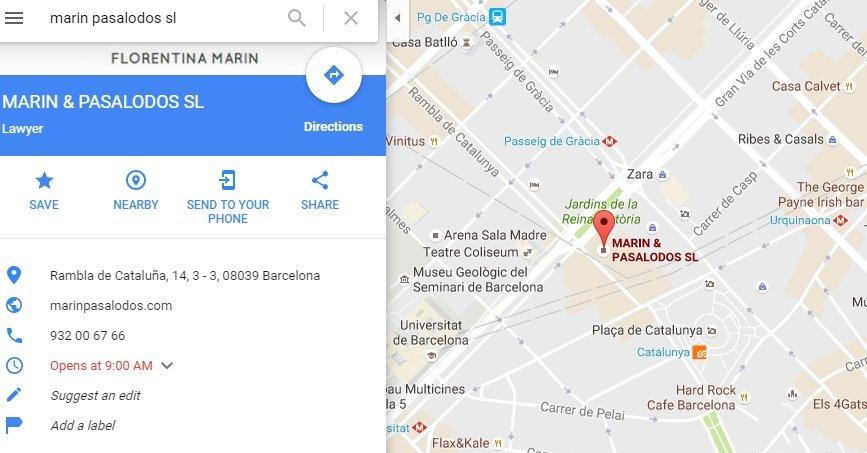 harta cu adresa cabinetului de avocati Marin Pasalodos din Barcelona Spania