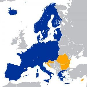 carta Europa estados dentro de la área Schengen